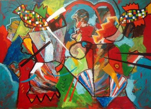Abstract schilderij kleuren