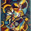 abstract schilderij de hond